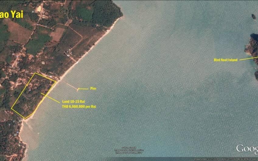 Koh Yao Yai – 15 Rai Oceanfront Land with 400 meter Beach Frontage – only THB 6m per Rai