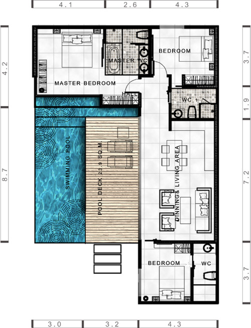 Floor Plan - 3 Bedroom Villa