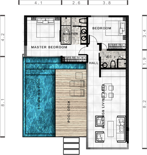 Floor Plan - 2 Bedroom Villa