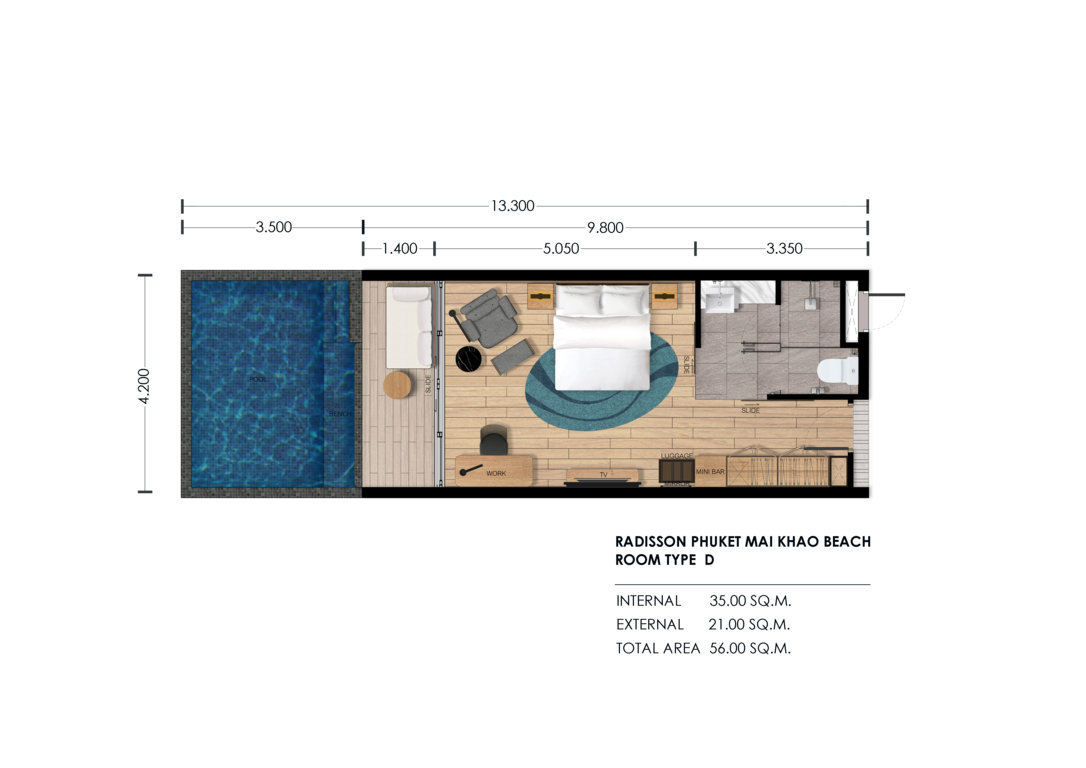 Type D - 56 sqm. Deluxe Sea View Studio with Private Pool