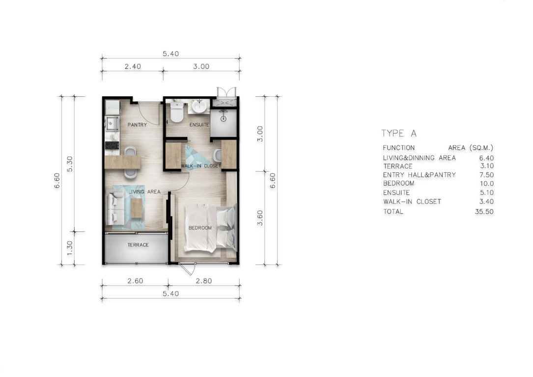 Type A - One Bedroom 35 sqm