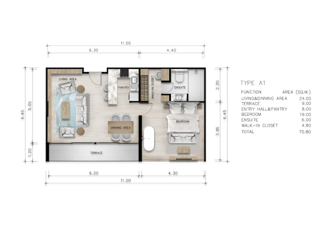 Type A1 - One Bedroom 70 sqm