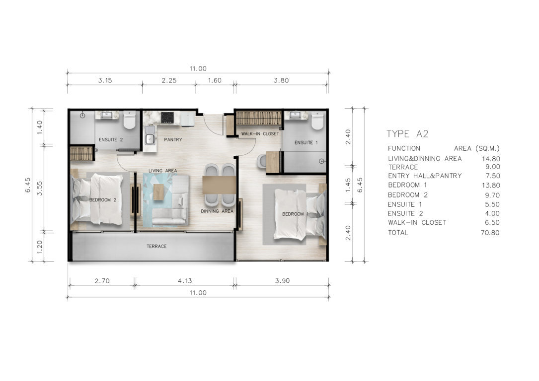 Type A2 - Two Bedroom 70 sqm